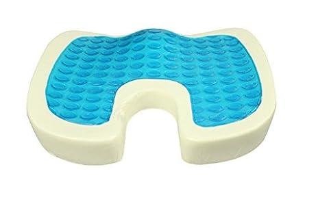 Halovie Gel Seat Cushion Memory Foam Coccyx Orthopedic Seat Cushion For Office Chair Blue Breathable Mesh
