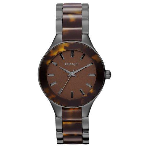 DKNY NY8650 - Reloj analógico de cuarzo para mujer, correa de acero inoxidable chapado color marrón