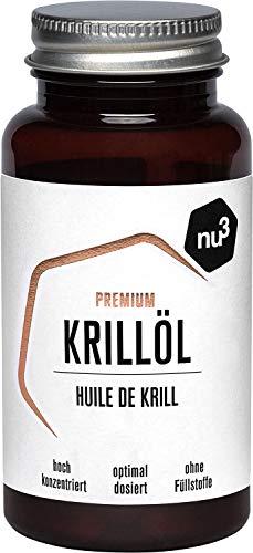 nu3 Premium Krill Oil | 60 Kapseln mit wertvollem Krabbenöl | natürliche Omega-3-Fettsäure Quelle | Nahrungsergänzungsmittel ohne Fischgeschmack | mit dem Antioxidans Astaxanthin