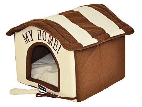 nanook Hunde-Haus Hunde-Höhle TABOU inkl. Kissen, kleine Hunde und Katzen, Größe L, braun weiß, Indoor - 6