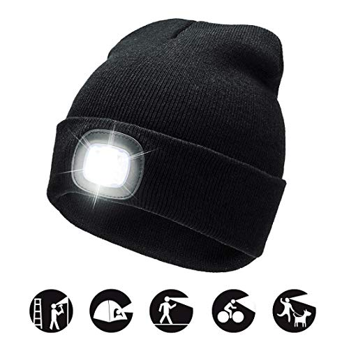 Cappello Uomo Illuminato Berretto LED, Berretto Cappello Unisex a 3 Livelli di luminosit LED B