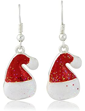 Ohrringe Modeschmuck Weihnachten, Weihnachtsmannmütze, Rot, in Geschenkbox
