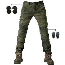 Alpha Rider Hommes Moto Pantalon d'Équitation Motocross Denim Jeans avec Protéger Pads Équipement Racing Knight Pantalon armée Verte