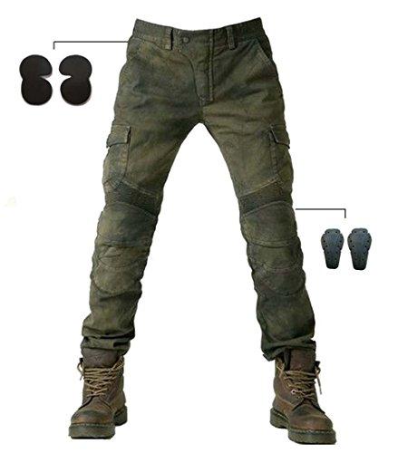 Alpha Rider Männer Motorrad Reithose Denim Jeans Hosen mit Schützen Pads Ausrüstung Armee Grün XL