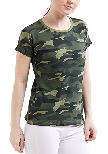 WYO Women's Camouflage Army Short Half Sleeve Solid Plain Top T-Shirt(Medium, GreenCamo)