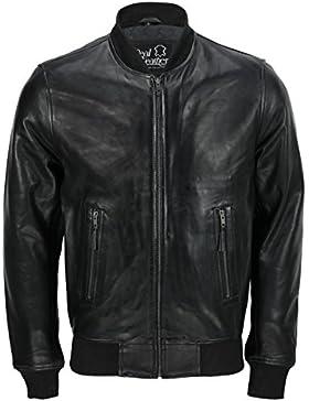 Clásica bomber negra de estilo vintage para hombre, chaqueta de motorista, en todas las tallas