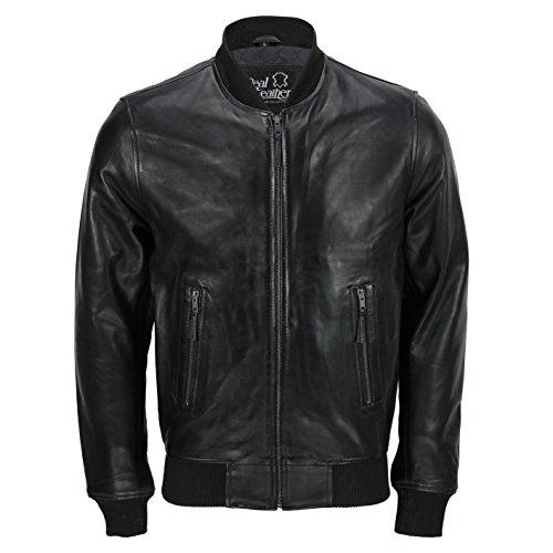Clásica bomber negra de estilo vintage para hombre, chaqueta de motorista, en todas las tallas Negro Without Collar Bomber XX-Large