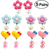 #4: TOYMYTOY Girls Ear Clips Drop Earrings Accessories 5 Pairs (Rosy/Purple/Blue Flowers and Pink/Yellow Hearts)