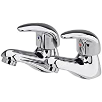 VeeBath Luton Modern Twin Basin Sink Hot and Cold Basin Taps Luxury Pair Chrome Bathroom Faucet