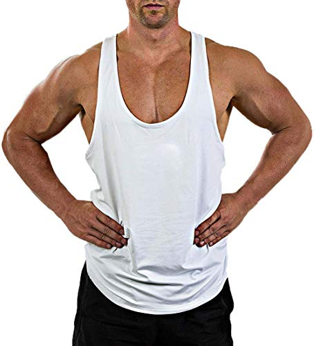 Herren Gym Muscle Weste Solid Color Low Cut Bodybuilding Tank Top Technische Stringer Lifting Fitness Übung Laufen Outfit Tops M-XXL (L, Weiß)