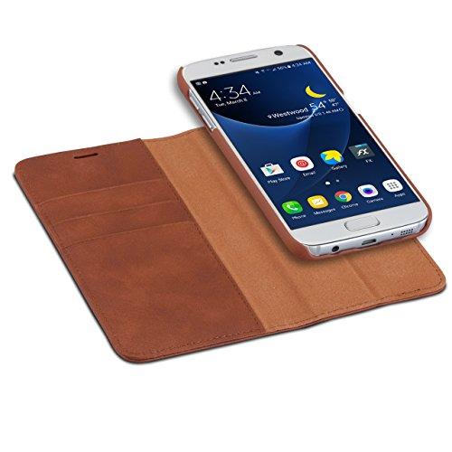 CASEZA Galaxy S7 2 in 1 Kunstleder Case Hülle Zurich braun PU Lederhülle Ledertasche Flip Cover Leder Tasche für das Original Samsung Galaxy S7 - Wallet Case mit abnehmbarem Backcover