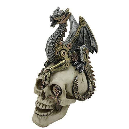Adorno de dragón sobre calavera