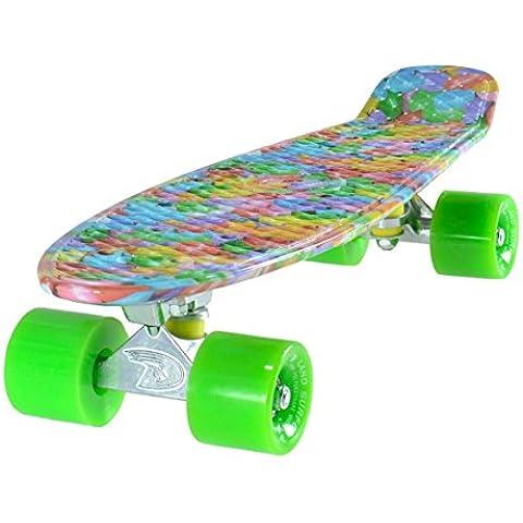 """LAND SURFER® Skateboard Cruiser Completo 56cm con tavola """"stile Candy"""" – cuscinetti ABEC 7 – Ruote Verdi 59mm PU + borsa per il trasporto - Cuscinetto Ruota Corsa"""