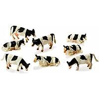 Van Manen 571878 - 8 modellini mucca, scala 1:87, colore: Nero/Bianco