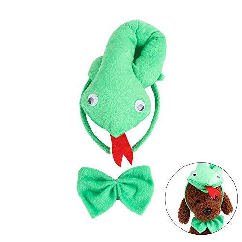 Isuper Niedliche Haustiere Cosplay Katze Hund Kostüm Stirnband Krawatte Dressup Set für Halloween Party Favors (Schlange)