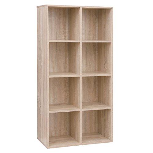 VASAGLE 8 Cube Storage Bookshelf, Wooden Bookcase and Display Shelf, Freestanding Cabinet Unit for Office Home, Oak LBC24NL