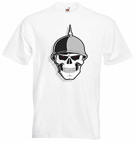 T-Shirt D818 T-Shirt Herren schwarz mit farbigem Brustaufdruck - Design Tribal Comic / abstrakte Grafik / Schädel Totenkopf Soldat mit Helm Schwarz