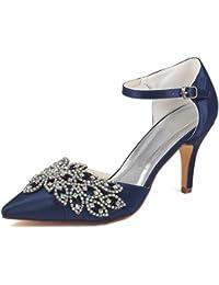 Emily Bridal Scarpe da Sposa da Donna Deep Blue Punta a Punta Stiletto  Strass Elegante Imitato 9b08cb50948