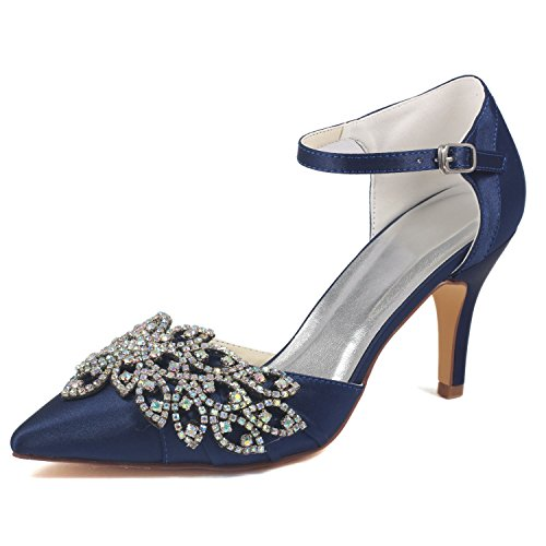 Emily Bridal Scarpe da Sposa da Donna Deep Blue Punta a Punta Stiletto Strass Elegante Imitato Silk Pump Shoes spos (EU41, Blu Scuro)