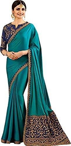 Arawins Womens Turquoise Blue Soft Satin Silk saree for women latest design...