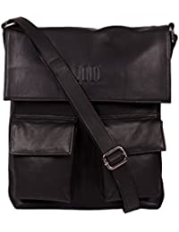 ROMARI Unisex Black Leather Sling Bag (Aaren-8)