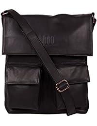 ROMARI Unisex Black Leather Sling Bag (Aaren-8)