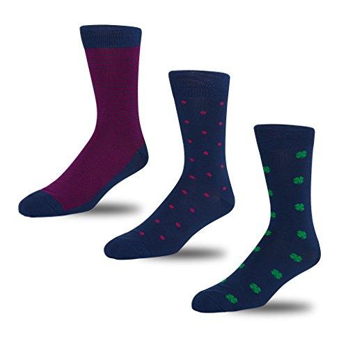 STÓR Herren Bambus Socken [3er Pack] Antibakterielle, atmungsaktive Herrensocken mit 80% Bambusfaser-Anteil! superweiches und luxuriöses Material. (Mittel (39-42EU / 6-8UK), Blau-Grün-Rosa)