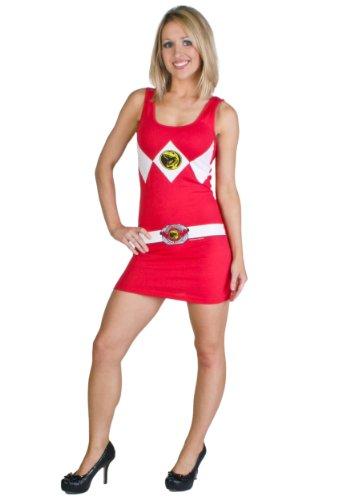 Mighty Fine Damens Kostüm Tank Kleid Rot (Mittel) (Für T-shirts Junioren Bauch)