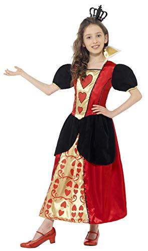 Smiffys Kinder Herzkönigin Kostüm, Kleid und Krone, Größe: L, 44458 (Alice Kostüm Kind Größe)
