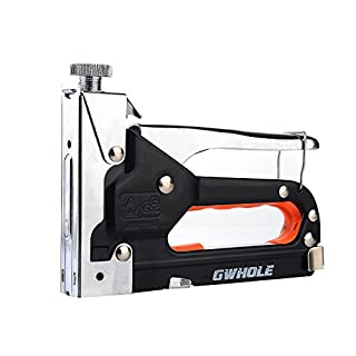 Gwhole staple gun with 600 staples. Bracket set for cushions, wood, fabrics, films