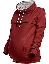 Happy Mama. Damen Sweatshirt Stillzeit Reißverschluss Stillen Rollkragen. 354p
