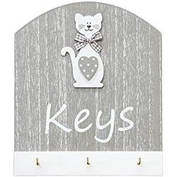 """Portachiavi da parete in legna, con testo """"Keys"""" e disegno a forma di gatto, appendi chiavi da parete 3 ganci, colore grigio e bianco regalo per amante dei gatto Cat Design Key Holder"""