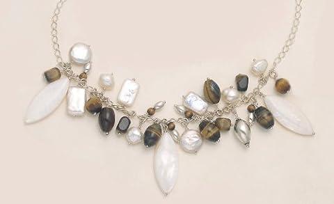 Sterling Silber Perle &Tiger's eye Halskette, verstellbare Länge, 45.72 cm, ausreichende 50.80 cm, natural, für den Luxus FEEL4170S. Lieferung in Geschenkbox per Sendung erster Klasse gesendet.