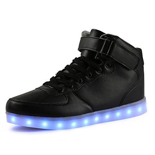 TULUO Kind u. Männer u. Frau USB-aufladende LED 7 Farben-helle hohe SpitzenSneakers Helle Schuhe schwarz 41 EU (Kinder-schuhe Kabel-stricken)
