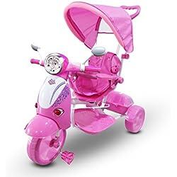 LT 854 Triciclo con pedales para bebés con 3 canciones integradas en capota varios colores (Rosa)