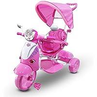 Triciclo a spinta ROSA con pedali LT854 per bambini SPECIAL con cappottina. MEDIA WAVE store ®