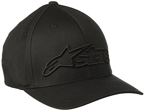 Alpinestars Herren Hat BLAZE FLEXFIT Logo Curved Bill Flex Back, Black, S/M, 1039-81005 (Bill-logo-cap)