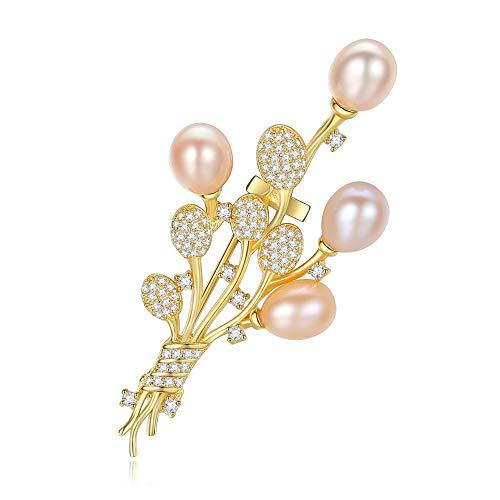 Peggy Gu schmuck 925 Silber Natürliche Perle Brosche Überzogen Zirkon Bedeckt Schal Schal Clip Für Erwachsene Frauen Damen Mädchen kostüm - Accessoire (Farbe : Weiß)