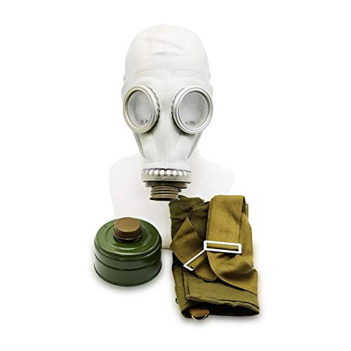 Set - Sowjetische Militär Gasmaske Replica Sammlerstück Set W/ Maske, Tasche, Filter - authentischer Look & Verschiedene Größen erhältlich Farbe: Grau | Größe: L ()