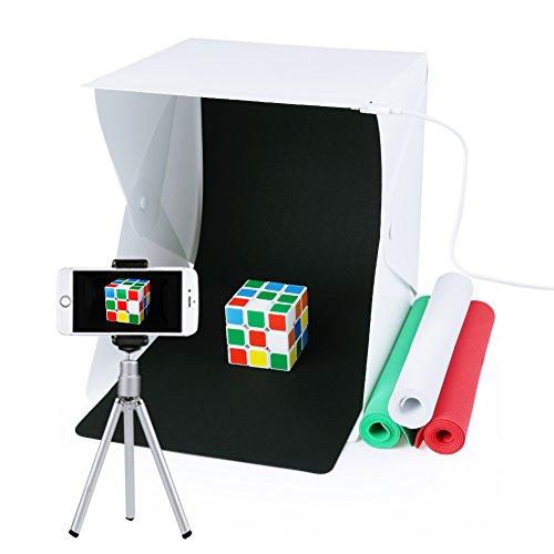 Fotostudio Set, Mini Fotozelt mit LED Leuchte, 24x24x22cm, mit 4 verschiedenen Hintergründen (Weiß, Schwarz, Rot, Grün)