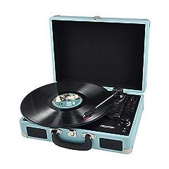 Idea Regalo - PRIXTON - Giradischi Vinili / Gira Dischi per Vinile Bluetooth con Convertitore Vinili e Altoparlanti Stereo Integrati, Pile,Supporto Aux in/USB/Codifica SD/Uscita RCA, Colore Blu | VC400
