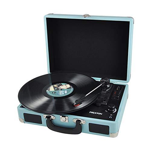 PRIXTON - Tourne-Disque Vinyle Platine, Lecteur Vinyle et Lecteur de Musique Vintage Bluetooth et USB, 2 Haut-Parleurs Intégrés, Conception d'une Valise, Couleur Bleu | VC400