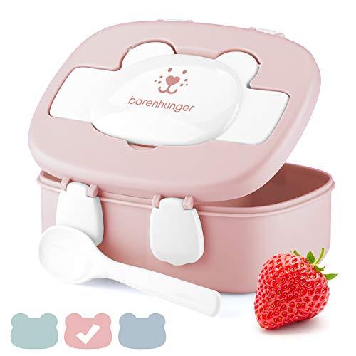 Biddy Baby | Brotdose Bärenhunger für Kinder, BPA frei - Lunchbox mit Trennwand inkl. Löffel für Mädchen & Jungen - Ideal für Kindergarten, Schule und unterwegs