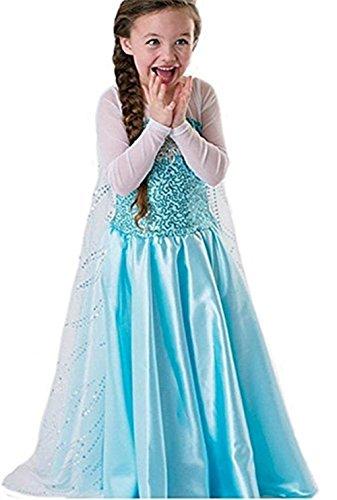 Ninimour Disfraz Vesitdo de Princesa Hielo para Las Niñas (120, Elsa#1)
