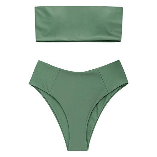 ZAFUL Conjunto De Bikini Bandeau con Relleno Dos Piezas Set Traje de Baño Color Liso Talle Alta 2019 Verano (Verde, S)