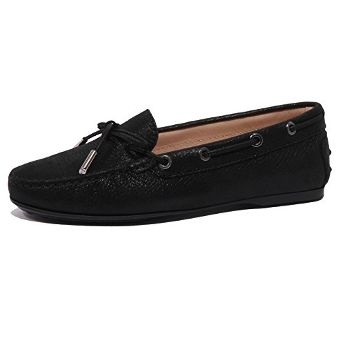 B1503 mocassino donna TOD'S LACCETTO OCCHIELLI scarpe nero loafer shoes women Nero