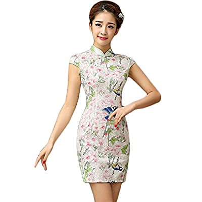 Elegant Slim Cheongsam Retro Qipao One Piece Short Dress Skirt(Large)