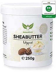 NaturaForte Sheabutter 250g - Rein & Natürlich, Kaltgepresst & Unraffiniert, Premium Shea Butter, Feuchtigkeitsspendend & Rückfettend, Parfümfrei & Ohne künstliche Zusätze