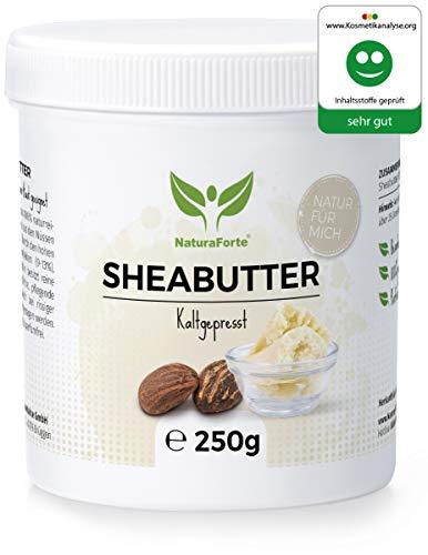 Reine Butter (NaturaForte Sheabutter 250g - Rein & Natürlich, Kaltgepresst & Unraffiniert, Premium Shea Butter, Feuchtigkeitsspendend & Rückfettend, Laborgeprüft, Parfümfrei & Ohne künstliche Zusätze)