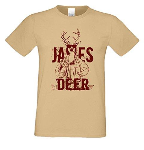 Herren-Trachten-Wiesn-Motiv-Fun-T-Shirt James Deer auch in Übergrößen 3XL 4XL 5XL Farbe: sand Sand